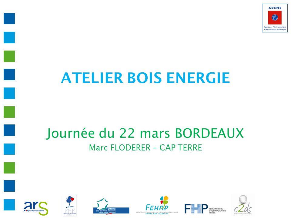 ATELIER BOIS ENERGIE Journée du 22 mars BORDEAUX Marc FLODERER – CAP TERRE