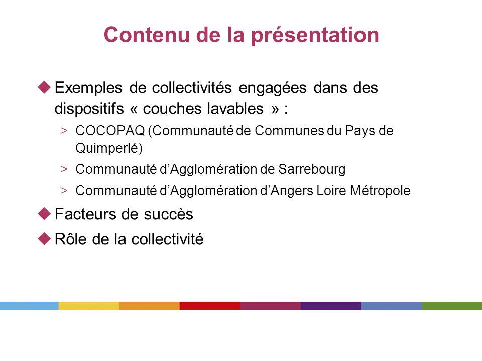 Contenu de la présentation Exemples de collectivités engagées dans des dispositifs « couches lavables » : >COCOPAQ (Communauté de Communes du Pays de