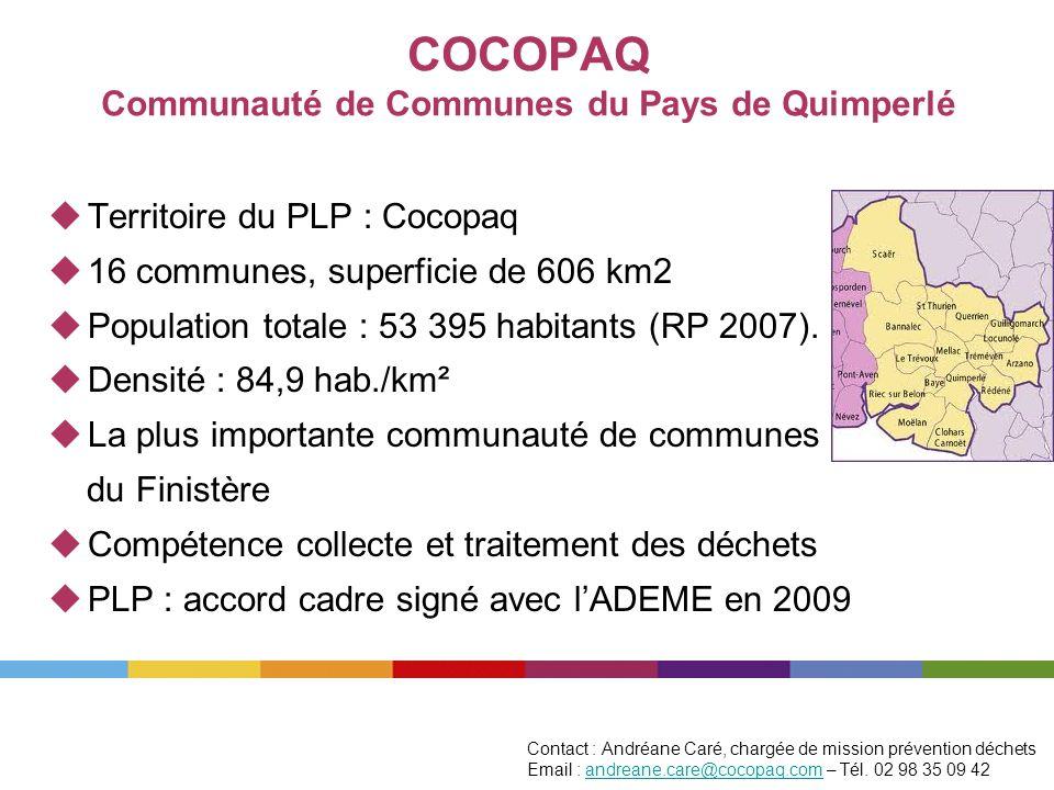COCOPAQ Communauté de Communes du Pays de Quimperlé Territoire du PLP : Cocopaq 16 communes, superficie de 606 km2 Population totale : 53 395 habitant
