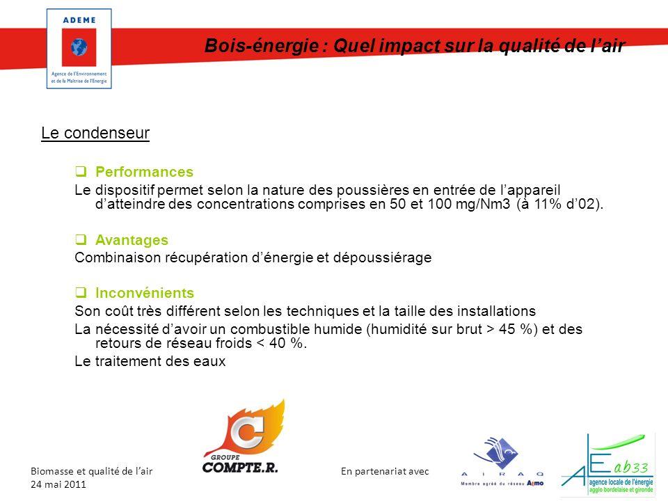 En partenariat avec Biomasse et qualité de lair 24 mai 2011 Bois-énergie : Quel impact sur la qualité de lair Le condenseur Performances Le dispositif permet selon la nature des poussières en entrée de lappareil datteindre des concentrations comprises en 50 et 100 mg/Nm3 (à 11% d02).