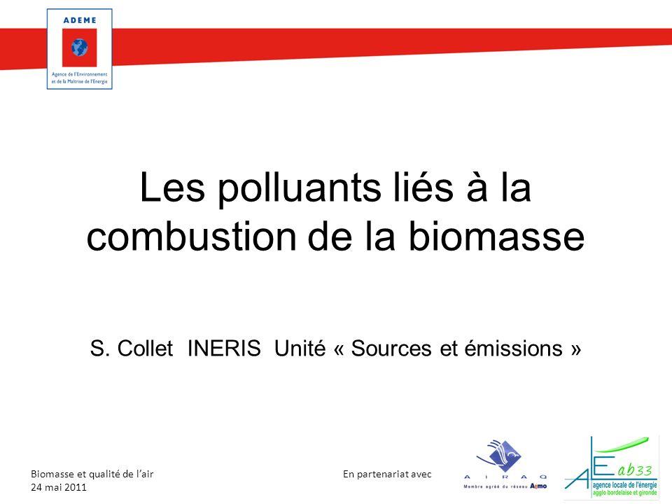 En partenariat avec Biomasse et qualité de lair 24 mai 2011 Contribution de la combustion du bois aux émissions nationales Source CITEPA (Rapport Secten 2011) Année 2009 Emissions dues à la combustion du bois en chaudière (hors résidentiel) Emissions dues à la combustion du bois dans le résidentiel Emissions nationales Part des émissions de la combustion du bois en chaudière sur les émissions nationales Part des émissions de la combustion du bois dans le résidentiel sur les émissions nationales CO (kt)18124939510,5%32% NO x (kt)141711171,2%1,5% PM2.5 (kt)6842702,2%31% HAP (8) (t)143740,8%57% PCDD/DF (g) 314893,3%16%