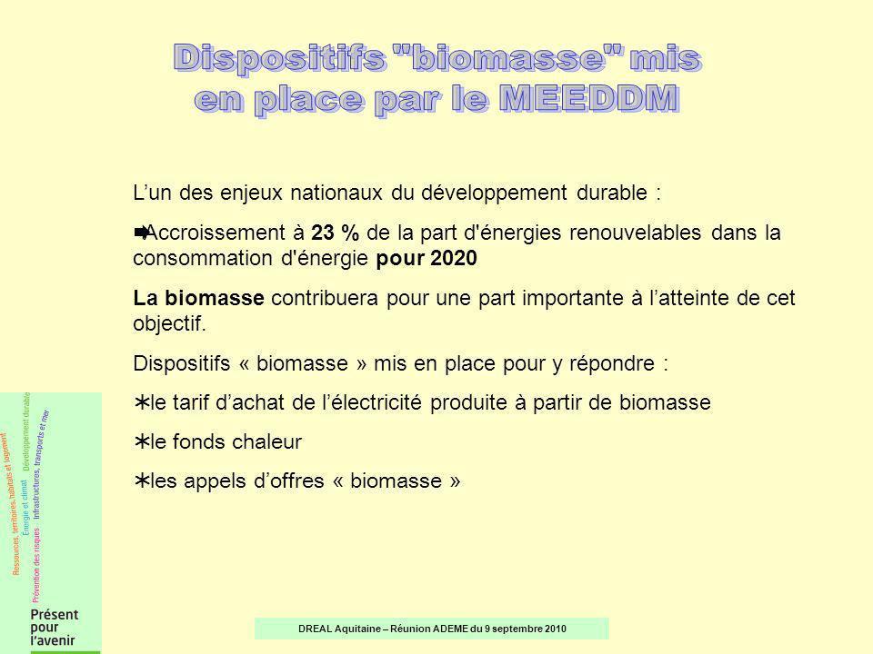 Principal dispositif de soutien au développement de l électricité verte Tout producteur d énergie renouvelable peut demander au gestionnaire du réseau d acheter, tout ou partie, de sa production d électricité au tarif fixé par l Etat Limité à 12 MW Arrêté du 28 décembre 2009 Tarif compris entre 12,5 et 17,5 c/kWh (suivant critères de puissance électrique, defficacité énergétique et dutilisation de la ressource) DREAL Aquitaine – Réunion ADEME du 9 septembre 2010