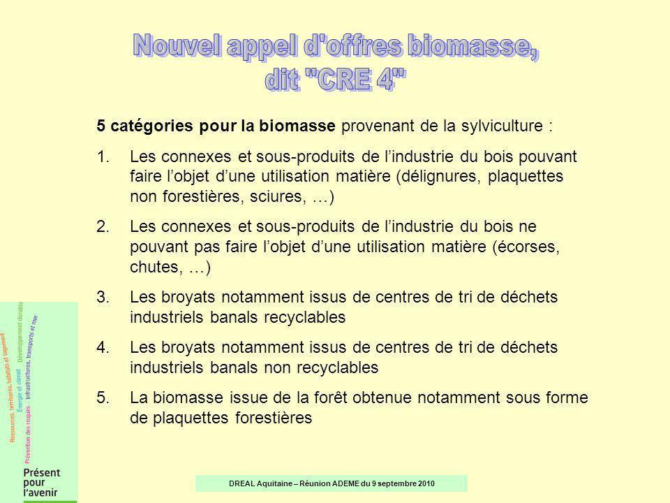 5 catégories pour la biomasse provenant de la sylviculture : 1.Les connexes et sous-produits de lindustrie du bois pouvant faire lobjet dune utilisation matière (délignures, plaquettes non forestières, sciures, …) 2.Les connexes et sous-produits de lindustrie du bois ne pouvant pas faire lobjet dune utilisation matière (écorses, chutes, …) 3.Les broyats notamment issus de centres de tri de déchets industriels banals recyclables 4.Les broyats notamment issus de centres de tri de déchets industriels banals non recyclables 5.La biomasse issue de la forêt obtenue notamment sous forme de plaquettes forestières DREAL Aquitaine – Réunion ADEME du 9 septembre 2010