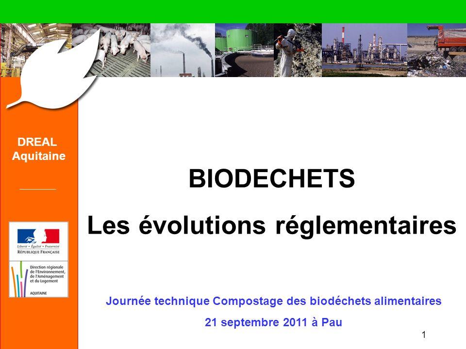 1 DREAL Aquitaine BIODECHETS Les évolutions réglementaires Journée technique Compostage des biodéchets alimentaires 21 septembre 2011 à Pau