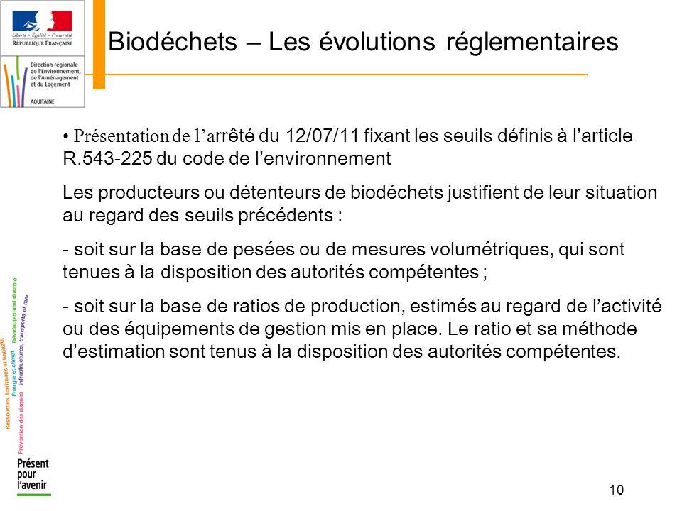 10 Biodéchets – Les évolutions réglementaires Présentation de la rrêté du 12/07/11 fixant les seuils définis à larticle R.543-225 du code de lenvironn