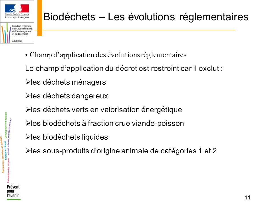 11 Biodéchets – Les évolutions réglementaires Champ dapplication des évolutions réglementaires Le champ dapplication du décret est restreint car il ex
