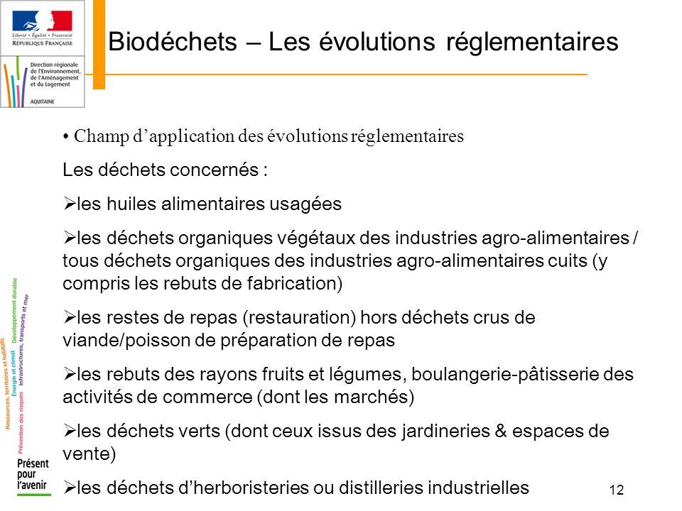 12 Biodéchets – Les évolutions réglementaires Champ dapplication des évolutions réglementaires Les déchets concernés : les huiles alimentaires usagées