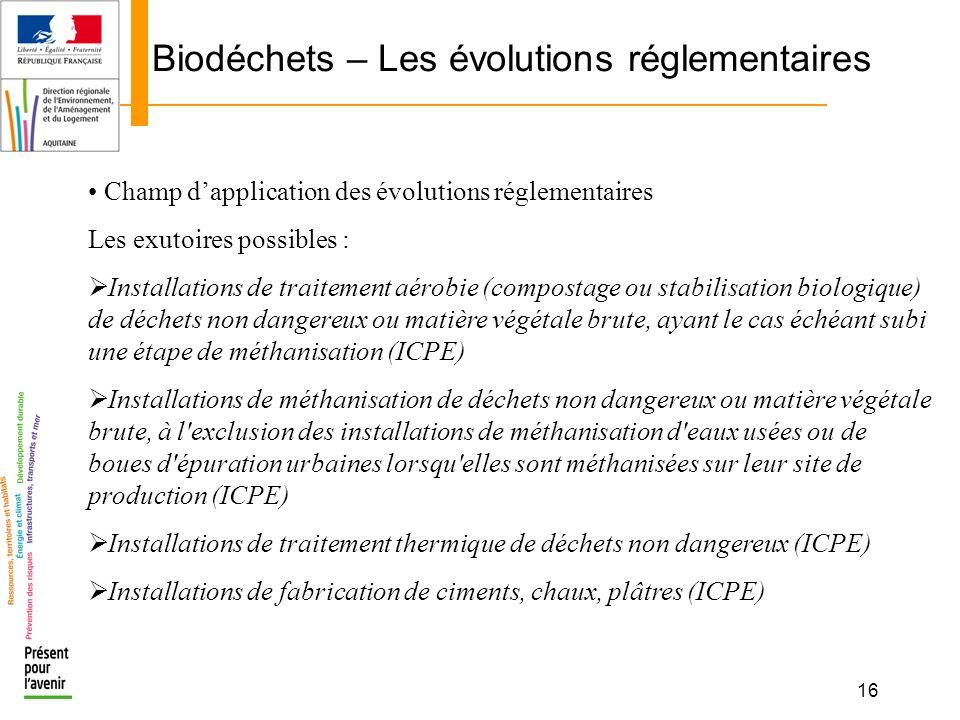 16 Biodéchets – Les évolutions réglementaires Champ dapplication des évolutions réglementaires Les exutoires possibles : Installations de traitement a