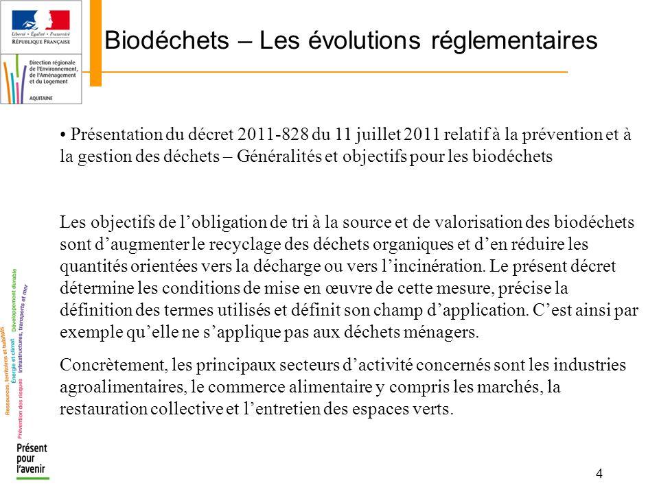 4 Biodéchets – Les évolutions réglementaires Présentation du décret 2011-828 du 11 juillet 2011 relatif à la prévention et à la gestion des déchets –