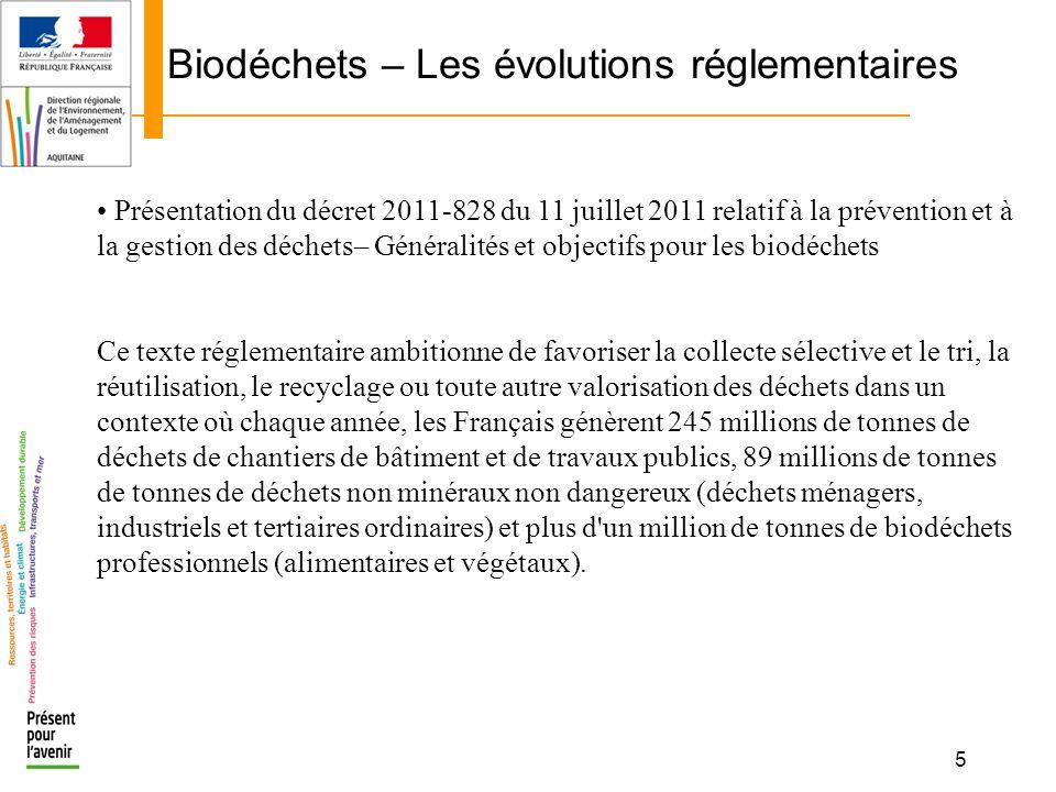 5 Biodéchets – Les évolutions réglementaires Présentation du décret 2011-828 du 11 juillet 2011 relatif à la prévention et à la gestion des déchets– G