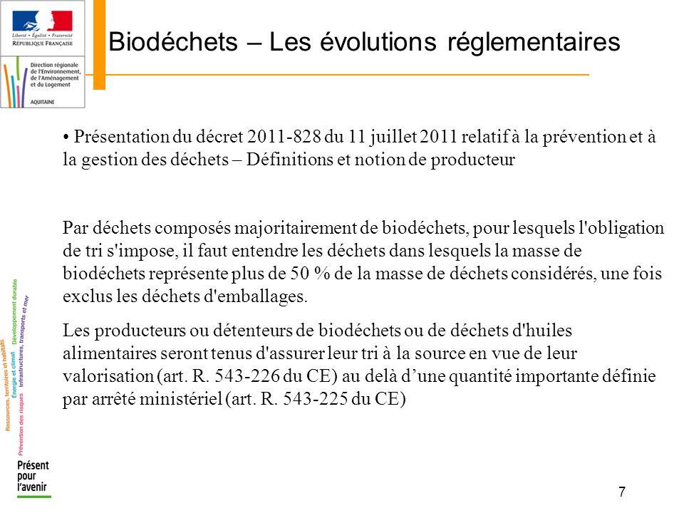 8 Biodéchets – Les évolutions réglementaires Présentation de la rrêté du 12/07/11 fixant les seuils définis à larticle R.543-225 du code de lenvironnement (notion de quantité importante) Le seuil visé à larticle R.