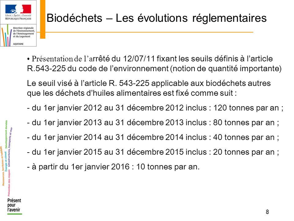 9 Biodéchets – Les évolutions réglementaires Présentation de la rrêté du 12/07/11 fixant les seuils définis à larticle R.543-225 du code de lenvironnement (notion de quantité importante) Le seuil visé à larticle R.