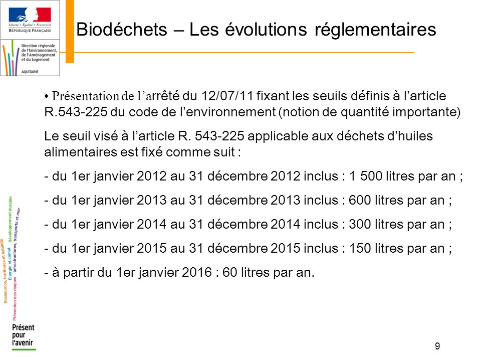 9 Biodéchets – Les évolutions réglementaires Présentation de la rrêté du 12/07/11 fixant les seuils définis à larticle R.543-225 du code de lenvironne