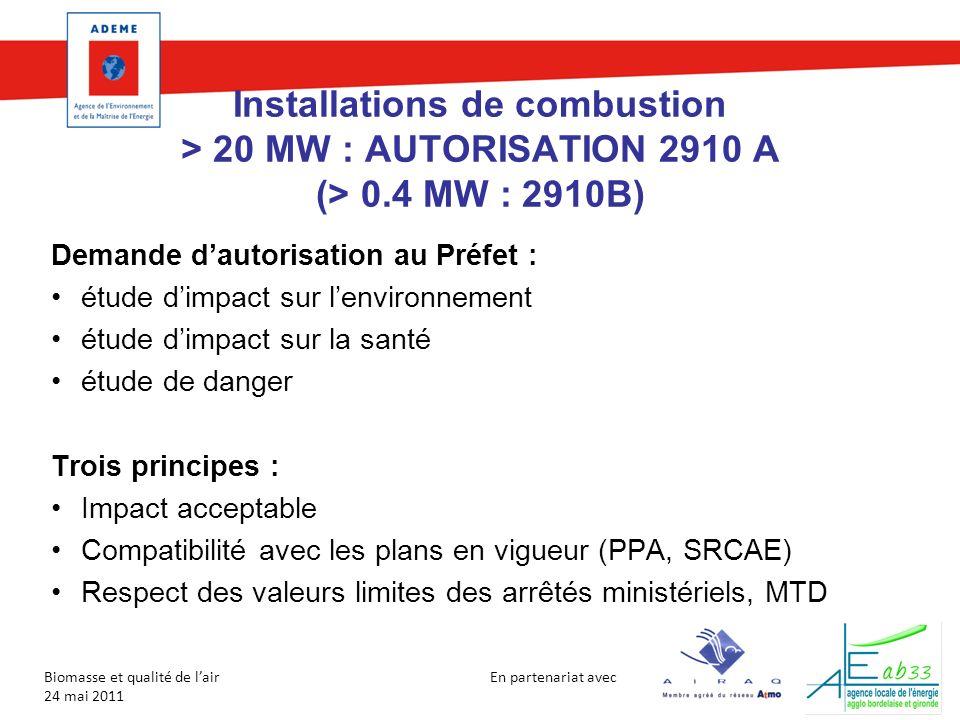 En partenariat avec Biomasse et qualité de lair 24 mai 2011 Installations de combustion > 20 MW : AUTORISATION 2910 A (> 0.4 MW : 2910B) Demande dauto