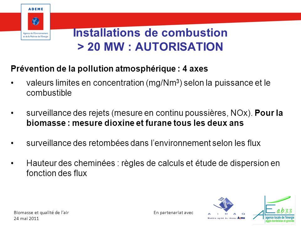 En partenariat avec Biomasse et qualité de lair 24 mai 2011 Installations de combustion > 20 MW : AUTORISATION Prévention de la pollution atmosphériqu