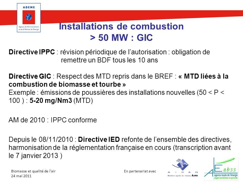En partenariat avec Biomasse et qualité de lair 24 mai 2011 Installations de combustion > 50 MW : GIC Directive IPPC : révision périodique de lautoris