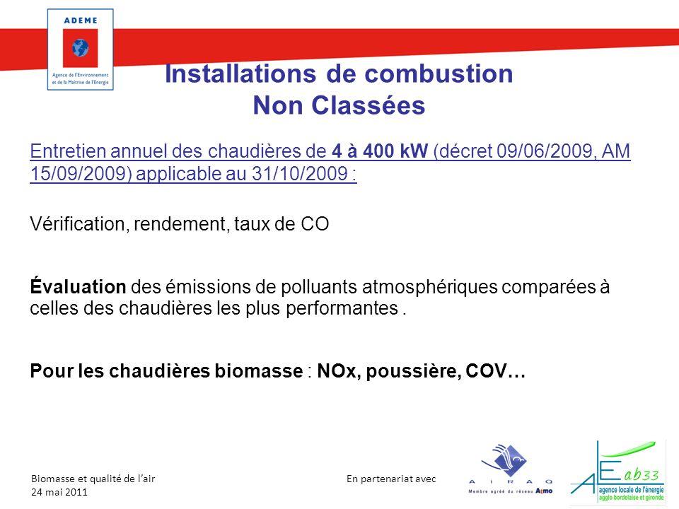 En partenariat avec Biomasse et qualité de lair 24 mai 2011 Installations de combustion Non Classées Entretien annuel des chaudières de 4 à 400 kW (dé