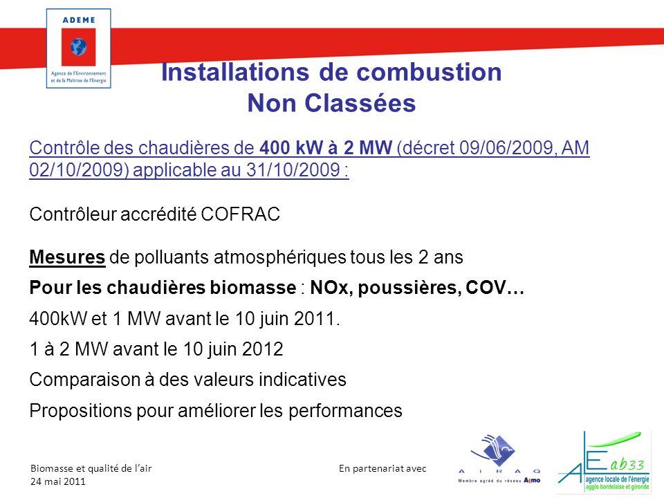 En partenariat avec Biomasse et qualité de lair 24 mai 2011 Installations de combustion Non Classées Contrôle des chaudières de 400 kW à 2 MW (décret