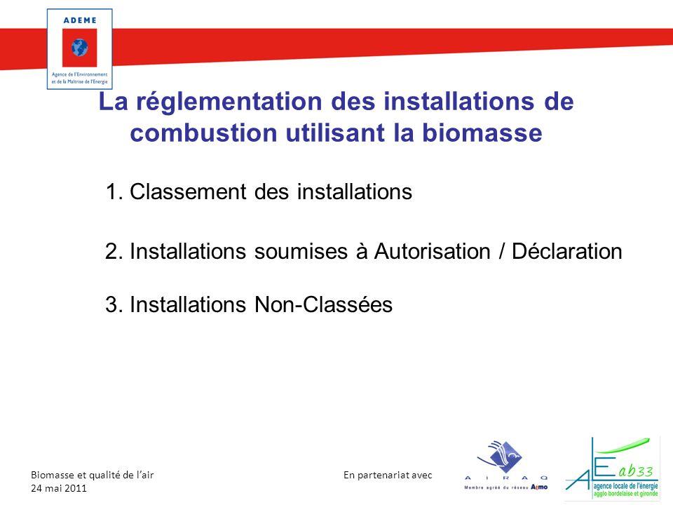 En partenariat avec Biomasse et qualité de lair 24 mai 2011 La réglementation des installations de combustion utilisant la biomasse 1. Classement des