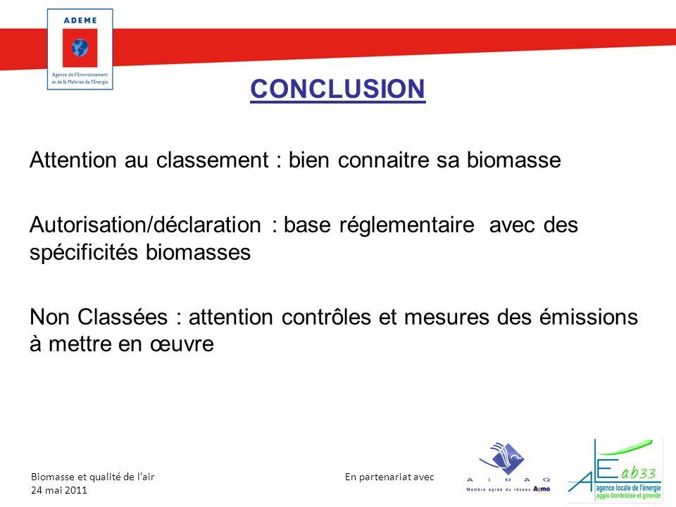 En partenariat avec Biomasse et qualité de lair 24 mai 2011 CONCLUSION Attention au classement : bien connaitre sa biomasse Autorisation/déclaration :