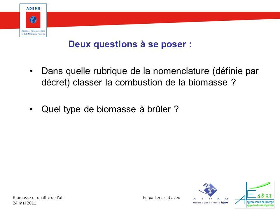 En partenariat avec Biomasse et qualité de lair 24 mai 2011 Deux questions à se poser : Dans quelle rubrique de la nomenclature (définie par décret) c
