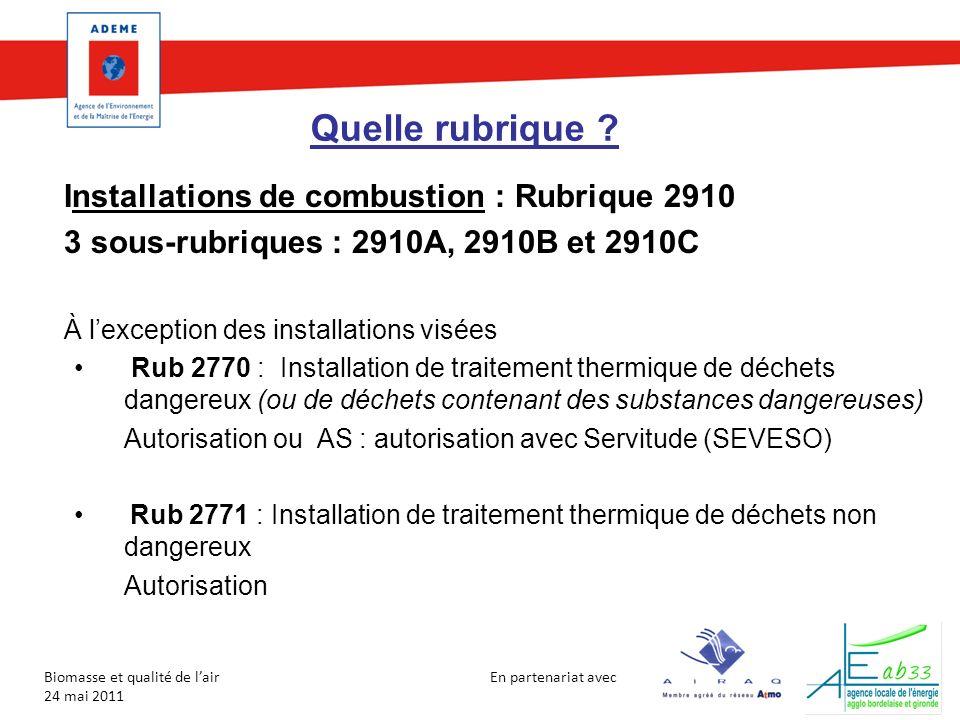 En partenariat avec Biomasse et qualité de lair 24 mai 2011 Quelle rubrique ? Installations de combustion : Rubrique 2910 3 sous-rubriques : 2910A, 29