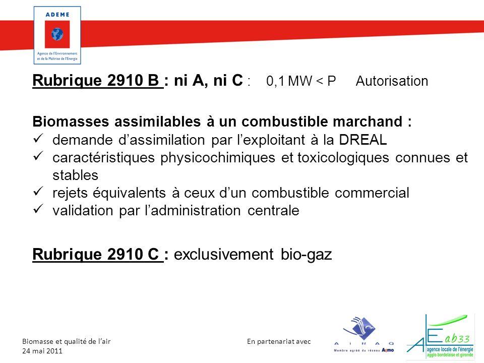 En partenariat avec Biomasse et qualité de lair 24 mai 2011 Rubrique 2910 B : ni A, ni C : 0,1 MW < PAutorisation Biomasses assimilables à un combusti