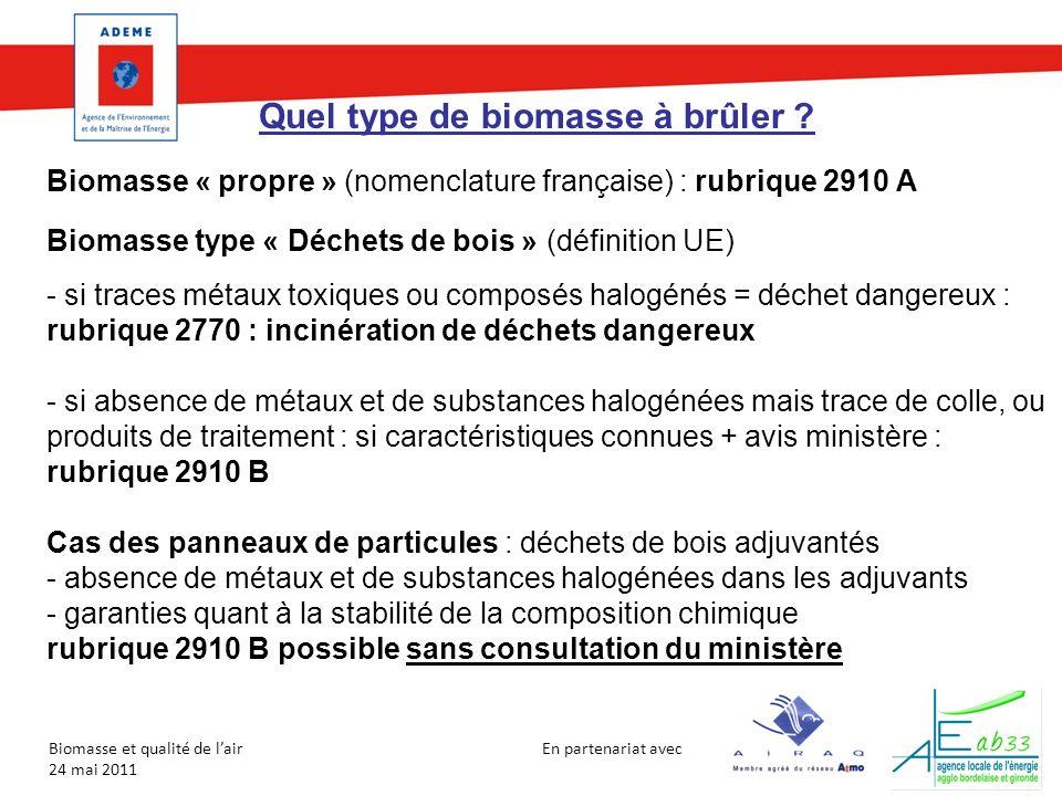 En partenariat avec Biomasse et qualité de lair 24 mai 2011 Quel type de biomasse à brûler ? Biomasse « propre » (nomenclature française) : rubrique 2