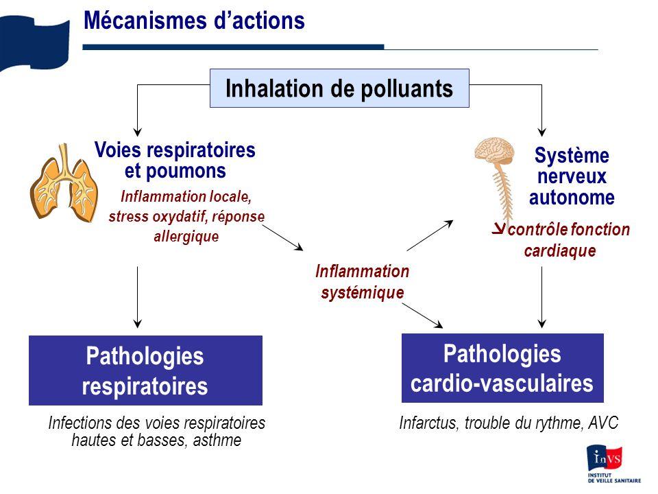 3 Mécanismes dactions Inhalation de polluants Inflammation systémique Pathologies respiratoires Système nerveux autonome contrôle fonction cardiaque Pathologies cardio-vasculaires Voies respiratoires et poumons Inflammation locale, stress oxydatif, réponse allergique Infections des voies respiratoires hautes et basses, asthme Infarctus, trouble du rythme, AVC