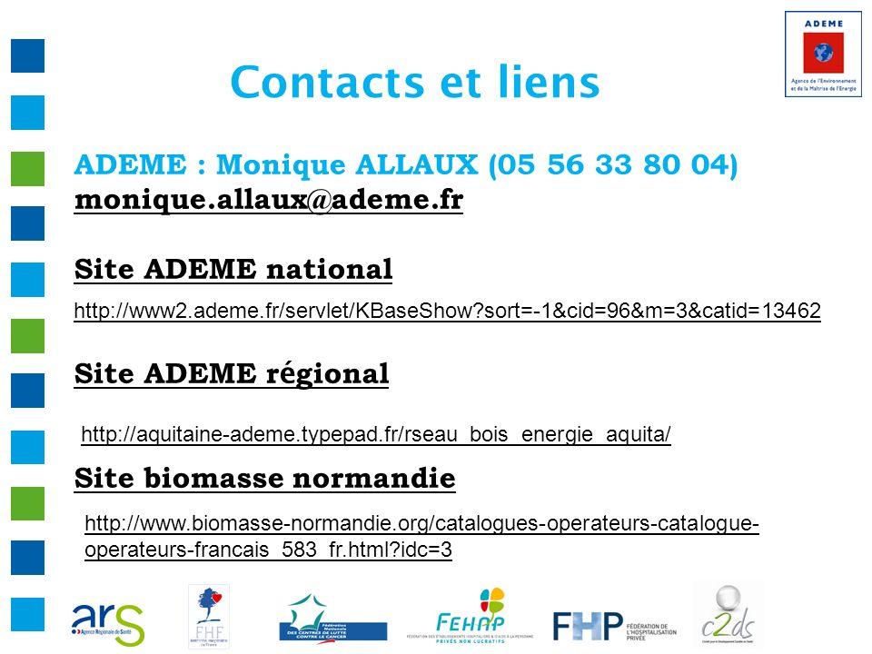 Contacts et liens ADEME : Monique ALLAUX (05 56 33 80 04) monique.allaux@ademe.fr Site ADEME national Site ADEME r é gional Site biomasse normandie ht