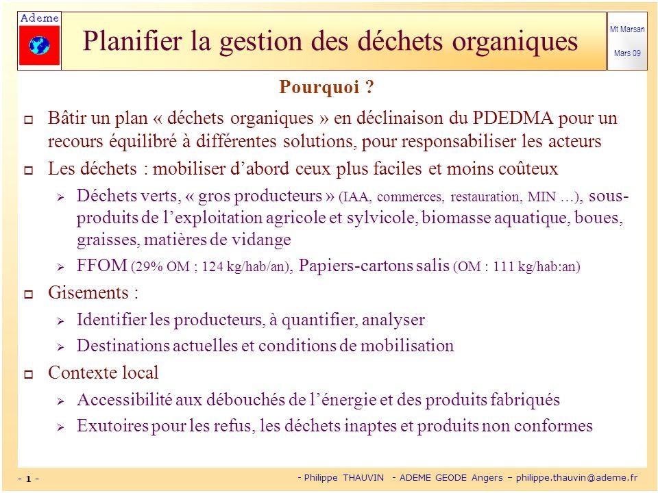Mt Marsan Mars 09 - 12 - - Philippe THAUVIN - ADEME GEODE Angers – philippe.thauvin@ademe.fr Planifier la gestion des déchets organiques Schémas généraux avec ou sans collecte sélective des biodéchets