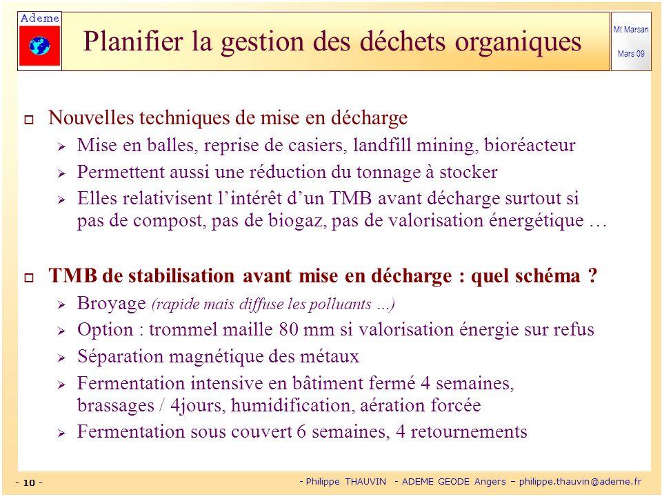 Mt Marsan Mars 09 - 10 - - Philippe THAUVIN - ADEME GEODE Angers – philippe.thauvin@ademe.fr Planifier la gestion des déchets organiques Nouvelles tec