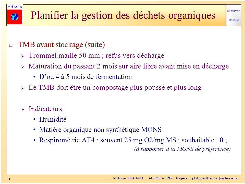 Mt Marsan Mars 09 - 11 - - Philippe THAUVIN - ADEME GEODE Angers – philippe.thauvin@ademe.fr Planifier la gestion des déchets organiques TMB avant sto