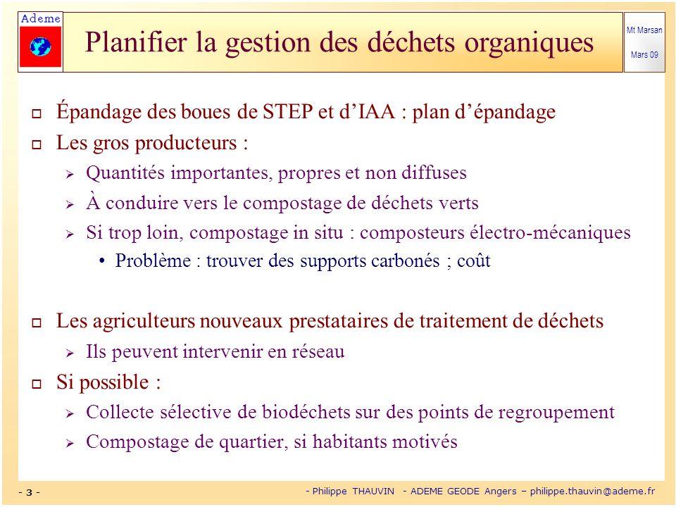 Mt Marsan Mars 09 - 3 - - Philippe THAUVIN - ADEME GEODE Angers – philippe.thauvin@ademe.fr Planifier la gestion des déchets organiques Épandage des b