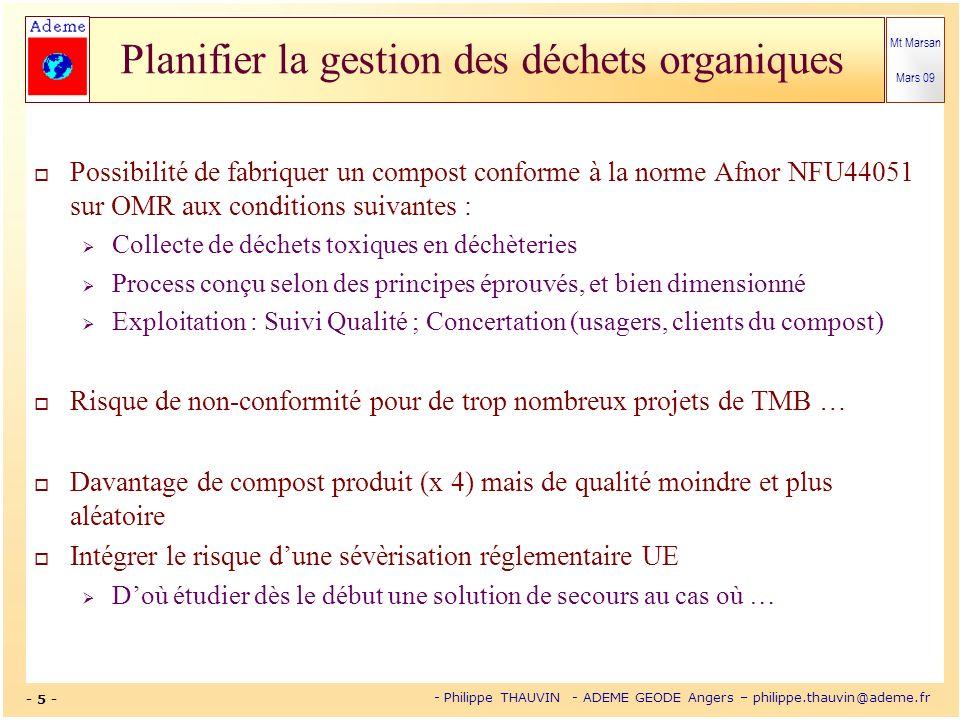 Mt Marsan Mars 09 - 5 - - Philippe THAUVIN - ADEME GEODE Angers – philippe.thauvin@ademe.fr Planifier la gestion des déchets organiques Possibilité de