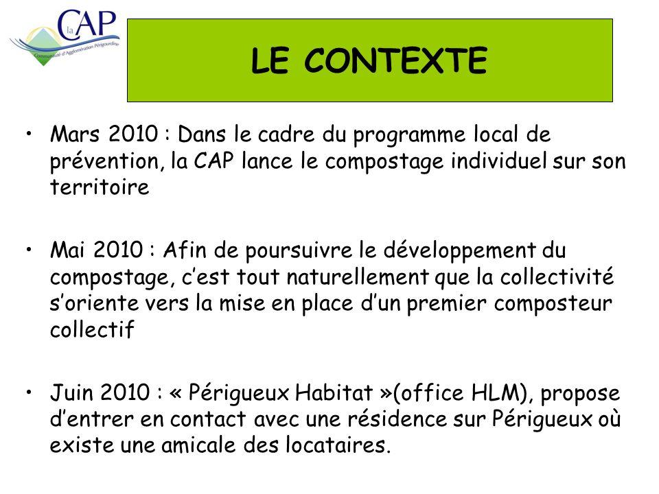 LE CONTEXTE Mars 2010 : Dans le cadre du programme local de prévention, la CAP lance le compostage individuel sur son territoire Mai 2010 : Afin de po
