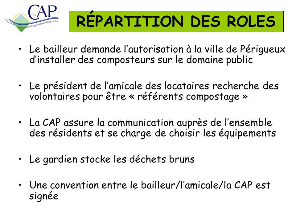 Le bailleur demande lautorisation à la ville de Périgueux dinstaller des composteurs sur le domaine public Le président de lamicale des locataires rec