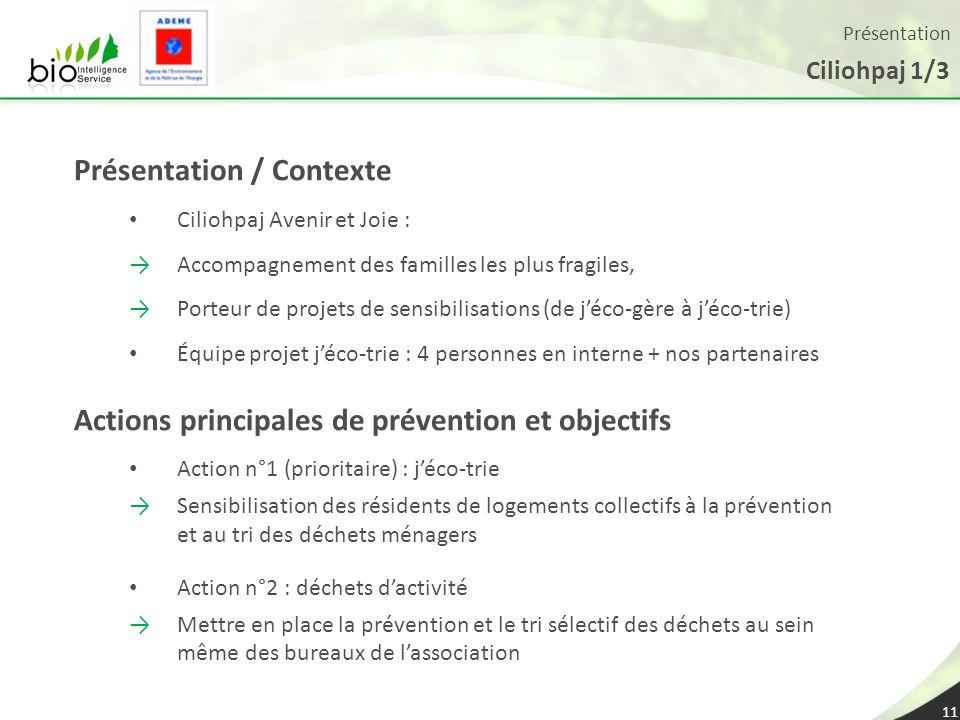 Présentation Ciliohpaj 1/3 11 Présentation / Contexte Ciliohpaj Avenir et Joie : Accompagnement des familles les plus fragiles, Porteur de projets de