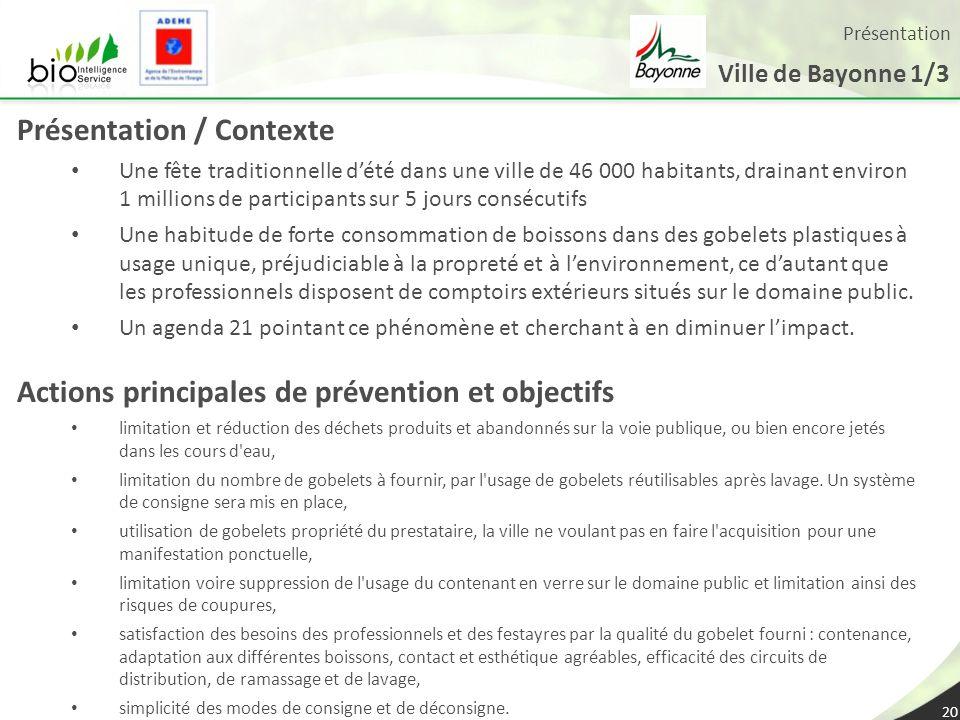 Présentation Ville de Bayonne 1/3 20 Présentation / Contexte Une fête traditionnelle dété dans une ville de 46 000 habitants, drainant environ 1 milli