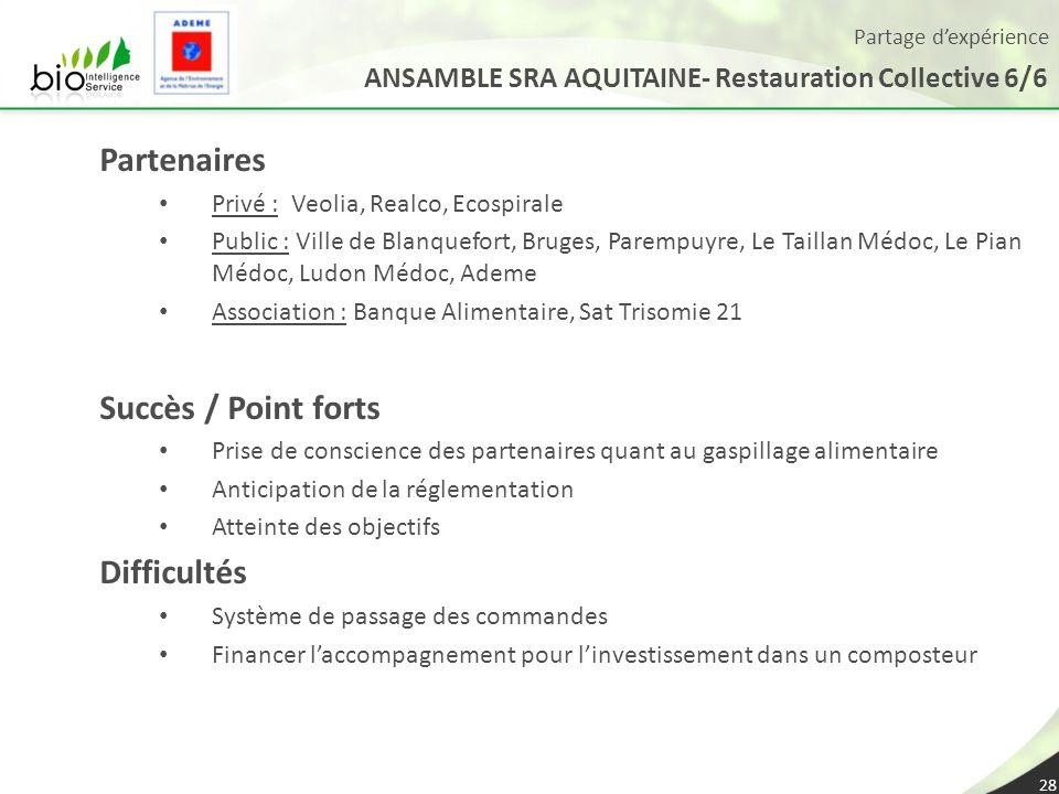 Partage dexpérience ANSAMBLE SRA AQUITAINE- Restauration Collective 6/6 28 Partenaires Privé : Veolia, Realco, Ecospirale Public : Ville de Blanquefor