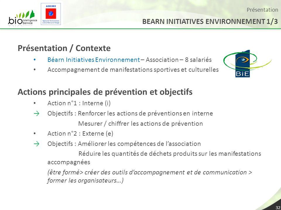 Présentation 32 Présentation / Contexte Béarn Initiatives Environnement – Association – 8 salariés Accompagnement de manifestations sportives et cultu