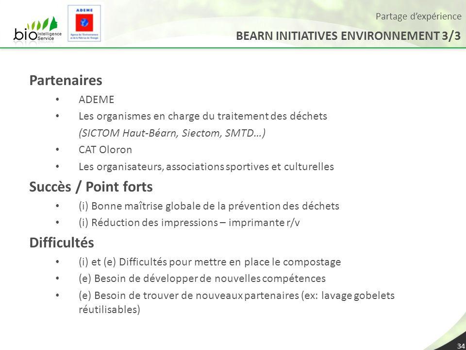 Partage dexpérience BEARN INITIATIVES ENVIRONNEMENT 3/3 34 Partenaires ADEME Les organismes en charge du traitement des déchets (SICTOM Haut-Béarn, Si