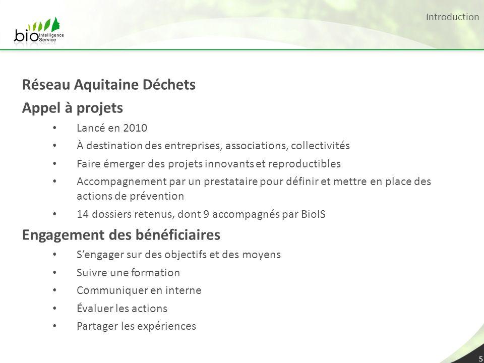 Introduction 5 Réseau Aquitaine Déchets Appel à projets Lancé en 2010 À destination des entreprises, associations, collectivités Faire émerger des pro