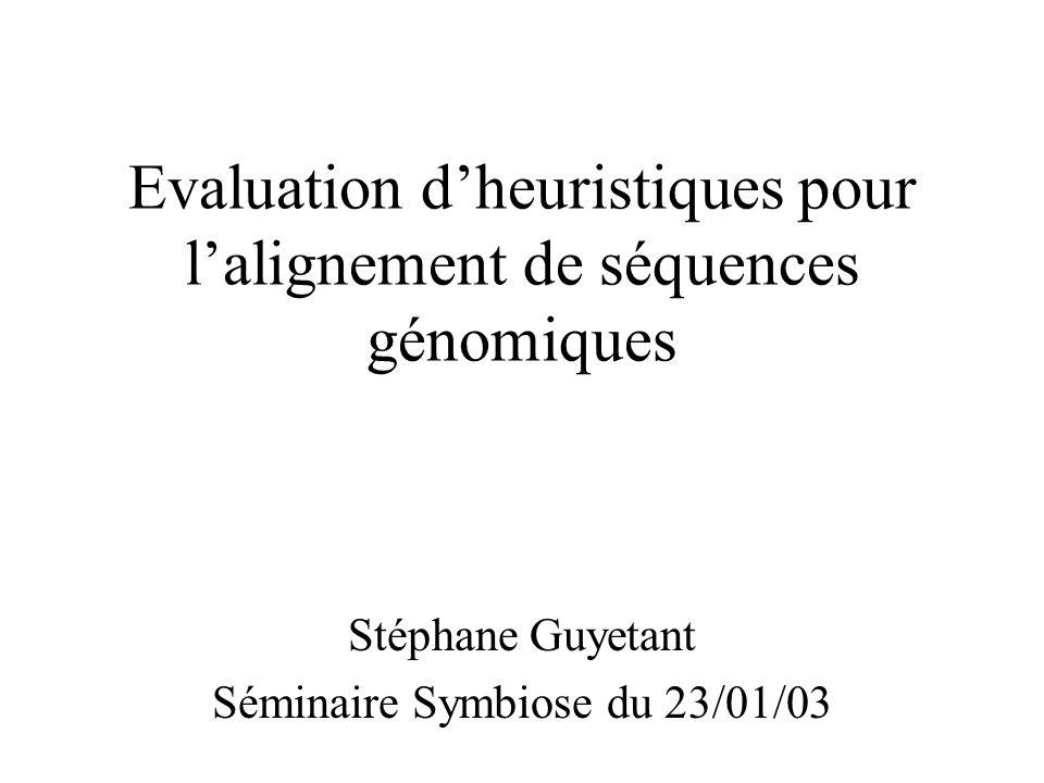 Evaluation dheuristiques pour lalignement de séquences génomiques Stéphane Guyetant Séminaire Symbiose du 23/01/03