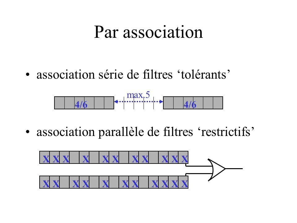 Par association association série de filtres tolérants association parallèle de filtres restrictifs 4/6 max.5 XXXXXXXXXXX 4/6 XXXXXXXXXXX