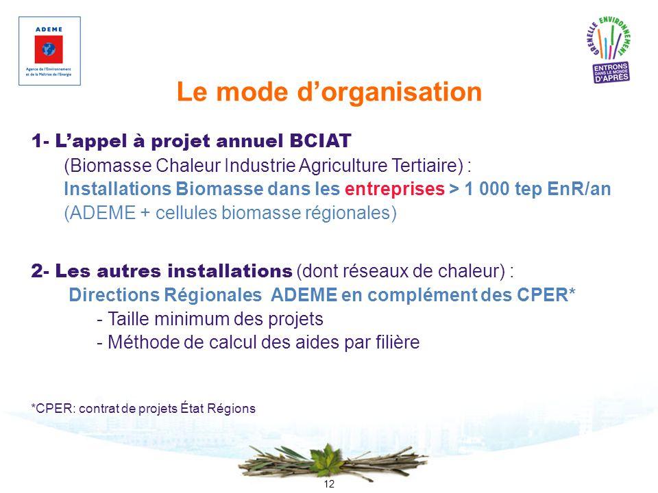 12 Le mode dorganisation 1- Lappel à projet annuel BCIAT (Biomasse Chaleur Industrie Agriculture Tertiaire) : Installations Biomasse dans les entrepri