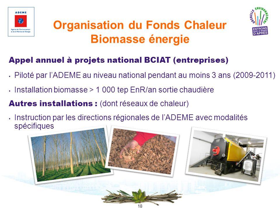 18 Organisation du Fonds Chaleur Biomasse énergie Appel annuel à projets national BCIAT (entreprises) Piloté par lADEME au niveau national pendant au