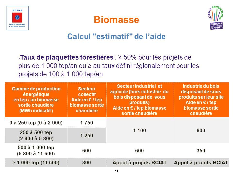 Biomasse 26 Taux de plaquettes forestières : 50% pour les projets de plus de 1 000 tep/an ou au taux défini régionalement pour les projets de 100 à 1