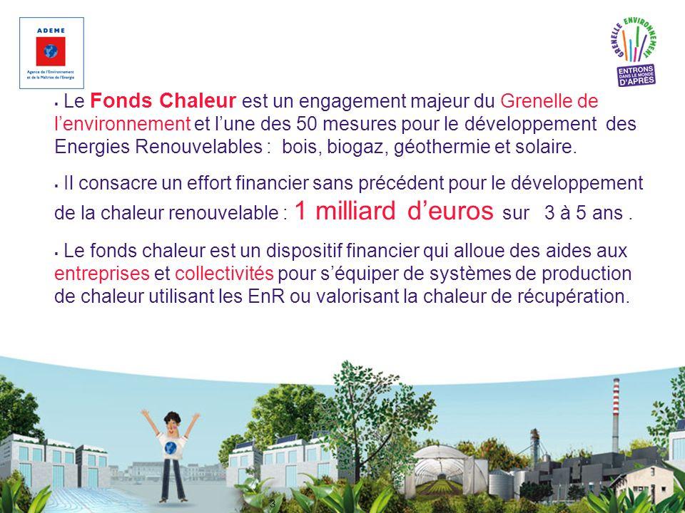 3 Le Fonds Chaleur est un engagement majeur du Grenelle de lenvironnement et lune des 50 mesures pour le développement des Energies Renouvelables : bo