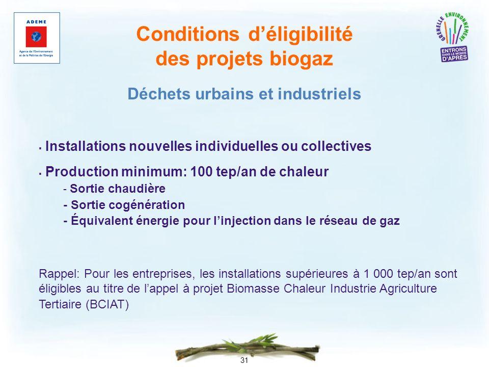 31 Conditions déligibilité des projets biogaz Installations nouvelles individuelles ou collectives Production minimum: 100 tep/an de chaleur - Sortie